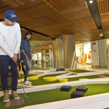 Hahn Radler launch event and putt-putt golf at Westfield Pitt Street, Sydney. 