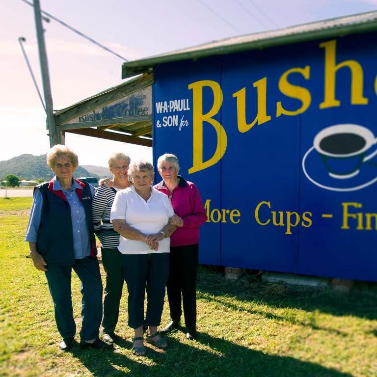 Bushells tea brings a community together with a restored sign in Moonbi, NSW, Australia